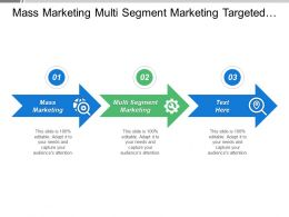 Mass Marketing Multi Segment Marketing Targeted Marketing Concentrated Marketing