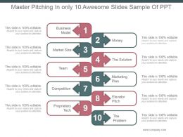 Master Pitching In Only 10 Awesome Slides Sample Of Ppt