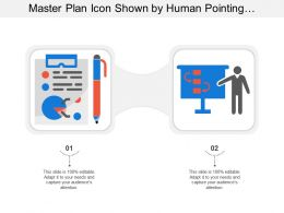 Master Plan Icon Shown By Human Pointing A Board And Curved Arrows