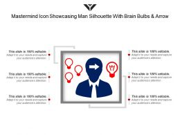 Mastermind Icon Showcasing Man Silhouette With Brain Bulbs And Arrow