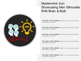 Mastermind Icon Showcasing Men Silhouette With Brain And Bulb