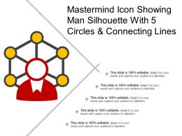 Mastermind Icon Showing Man Silhouette With 5 Circles And Connecting Lines