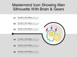 Mastermind Icon Showing Man Silhouette With Brain And Gears