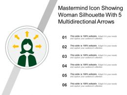 Mastermind Icon Showing Woman Silhouette With 5 Multidirectional Arrows