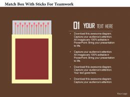 Match Box With Sticks For Teamwork Flat Powerpoint Design