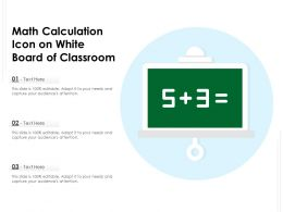 Math Calculation Icon On White Board Of Classroom