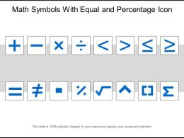 Math Symbols With Equal And Percentage Icon