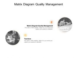 Matrix Diagram Quality Management Ppt Powerpoint Presentation Model Pictures Cpb