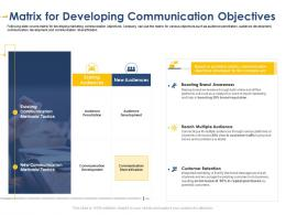 Matrix For Developing Communication Developing Integrated Marketing Plan New Product Launch