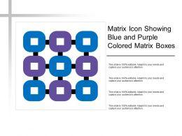 Matrix Icon Showing Blue And Purple Colored Matrix Boxes