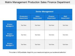 Matrix Management Production Sales Finance Department
