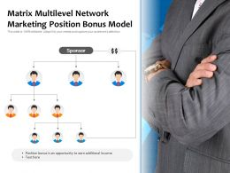 Matrix Multilevel Network Marketing Position Bonus Model