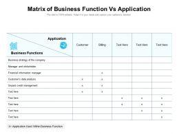 Matrix Of Business Function Vs Application