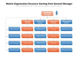 Matrix Organization Structure Starting From General Manager