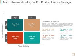 Matrix Presentation Layout For Product Launch Strategy