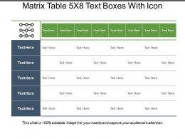 Matrix Table 5x8 Text Boxes With Icon