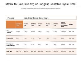 Matrix To Calculate Avg Or Longest Relatable Cycle Time