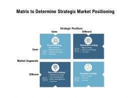 Matrix To Determine Strategic Market Positioning