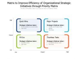 Matrix To Improve Efficiency Of Organizational Strategic Initiatives Through Priority Matrix