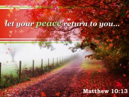 Matthew 10 13 Let Your Peace Return To You Powerpoint Church Sermon
