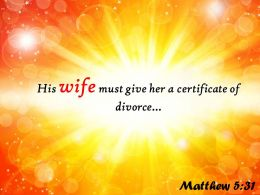Matthew 5 31 His Wife Must Give Her Powerpoint Church Sermon