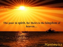 Matthew 5 3 The Poor In Spirit For Theirs Powerpoint Church Sermon