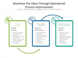 Maximize The Value Through Operational Process Improvement