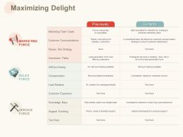 Maximizing Delight Ppt Powerpoint Presentation Infographic Template Graphics Design