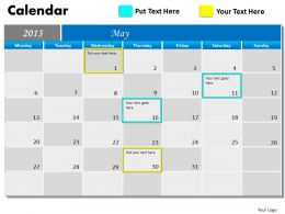 May 2013 Calendar PowerPoint Slides PPT templates