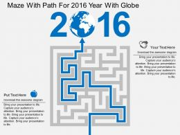 Maze With Path For 2016 Year With Globe Flat Powerpoint Design