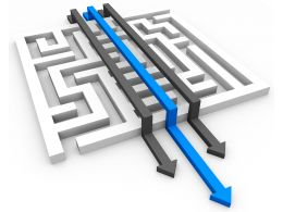 Maze With Three Arrows With Blue Arrow Leading Shows Business Success Stock Photo