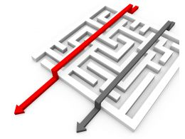 Maze With Two Arrows With Red Arrow Leading Displaying Leadership Stock Photo
