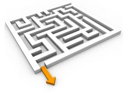 Maze With Yellow Arrow Way Out To Show Problem Solution Stock Photo