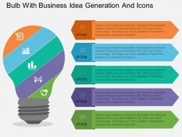 mb Bulb With Business Idea Generation And Icons Flat Powerpoint Design
