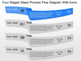 mb Four Staged Steps Process Flow Diagram With Icons Powerpoint Template