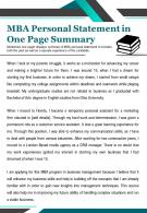 MBA Personal Statement In One Page Summary Presentation Report Infographic PPT PDF Document