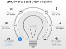 mc 3d Bulb With Six Staged Modern Infographics Powerpoint Temptate