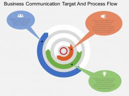 mc Business Communication Target And Process Flow Flat Powerpoint Design
