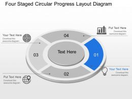 Mc Four Staged Circular Progress Layout Diagram Powerpoint Template Slide