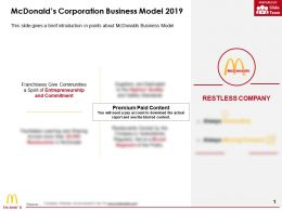 Mcdonalds Corporation Business Model 2019