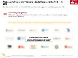 Mcdonalds Corporation Corporate Social Responsibility CSR 1 2 2018