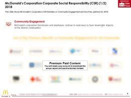 Mcdonalds Corporation Corporate Social Responsibility Csr 1