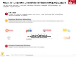 Mcdonalds Corporation Corporate Social Responsibility Csr 2