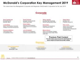 Mcdonalds Corporation Key Management 2019