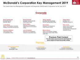 Mcdonalds Corporation Key Management 2019