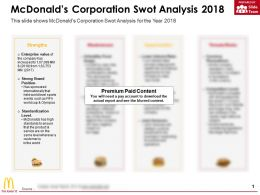 Mcdonalds Corporation Swot Analysis 2018