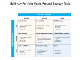 Mckinsey Portfolio Matrix Product Strategy Tools