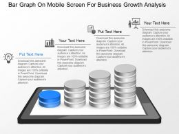 md Bar Graph On Mobile Screen For Business Growth Analysis Powerpoint Temptate