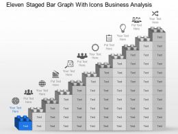 Md Eleven Staged Bar Graph With Icons Business Analysis Powerpoint Template Slide