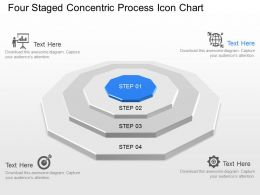 Md Four Staged Concentric Process Icon Chart Powerpoint Template Slide